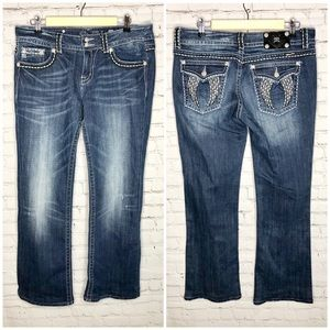 Miss Me Crystal Angel Wing Jeans 33x30.5